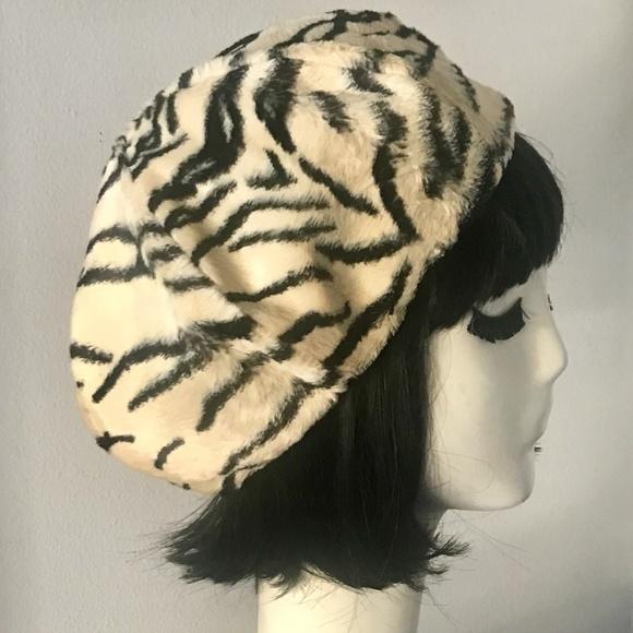 Zebra Print Vintage Faux Fur Beret Hat